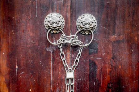 door knobs: Traditional Chinese door knobs.