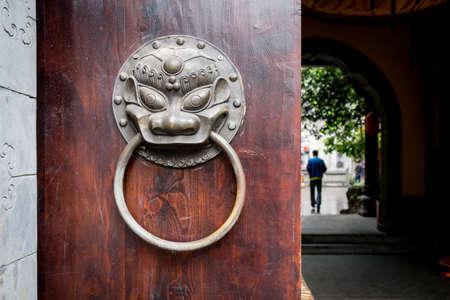 door knob: Traditional Chinese door knob. Stock Photo