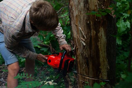 21-23 year old guy with a chainsaw pruning wood, a man harvests firewood, clearing old trees from the forest to save the forest ecosystem closeup