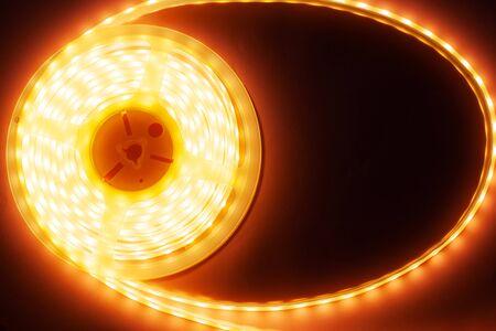 orange luminous diode strip, eco LED light close-up