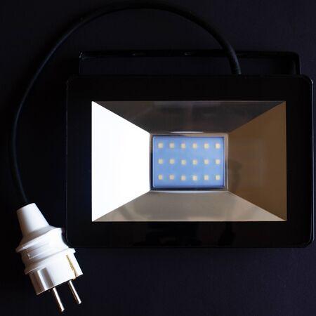 LED spotlight close-up on a dark background