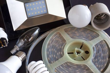 a set of lighting fixtures for the home, electric lamps for lighting led and eco lamp close-up Stock Photo