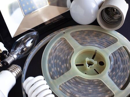 lighting devices, incandescent lamps and LED light sources  top view close-up