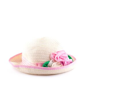 female headdress, tender beauty hat with pink rose isolated close-up Standard-Bild