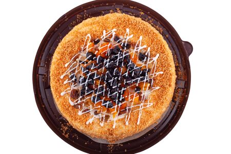cake biscuit with dried apricots and prunes top view isolated close-up