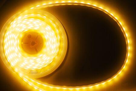 copyspace of LED strip on a dark background close-up Фото со стока