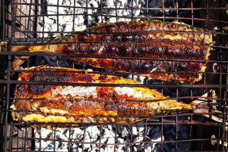 flat lay cooking fried fish on coals, mackerel grilled to a golden crust top view close-up