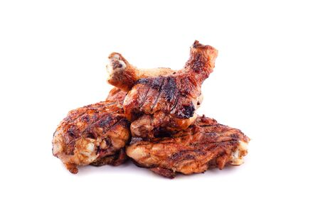 Grilled chicken leg on white background.isolate