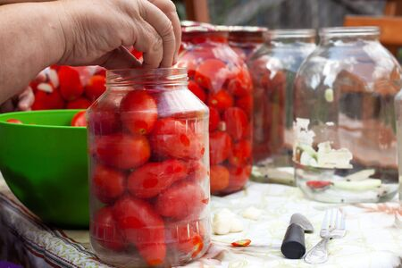 grandmother canning  sorts seasoning jars and bay leaves for pickled tomatoes, preservation canning process close-up