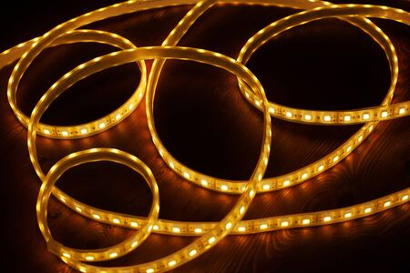 Diode strip. Led lights tape on a black background  closeup