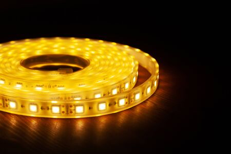 Diode strip for decoration of interiors. Led lights tape closeup