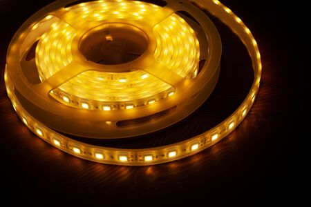 Led silicon shining strip in coil. Diode lights close-up