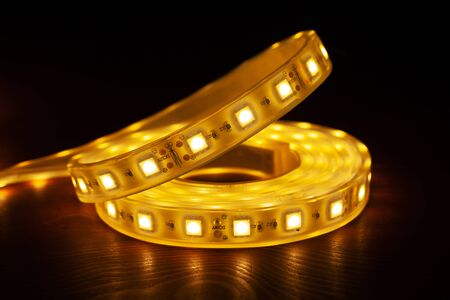 Led silicon shining strip in coil. Diode lights closeup.Eco light.