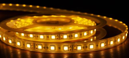 Led silicon shining strip in coil. Decorative diode lights closeup