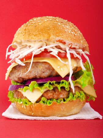Meat burger with cheese and vegetables on a red background.Double cheeseburger with fresh tomatoes, lettuce, onions, and chopped cabbage closeup. Stock Photo - 129841361