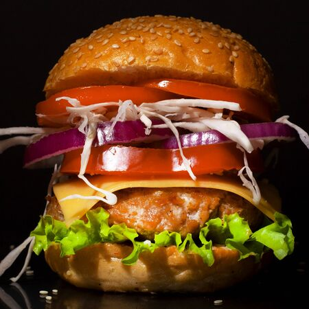 Fast food concept: big burger with vegetables and cutlet, combining harmful and wholesome food close up