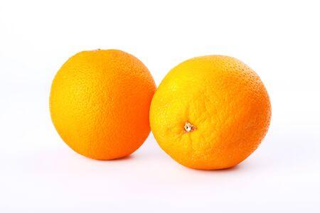 2 citrus orange on white background closeup.