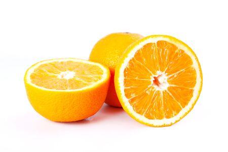 Citrus juicy halves of orange,Orange fruit  isolated on white background.