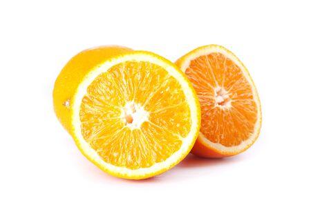 chopped orange citrus on white background,orange fruit isolated.