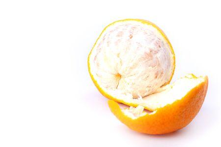 peeled citrus orange isolated,fresh juicy orange on a white background close up