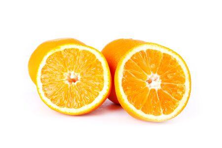 juicy oranges isolated on white background close-up.