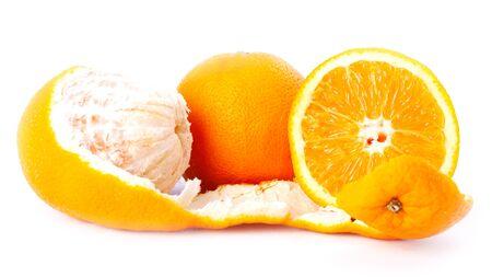 peeled and chopped orange isolated,orange citrus on white background close up