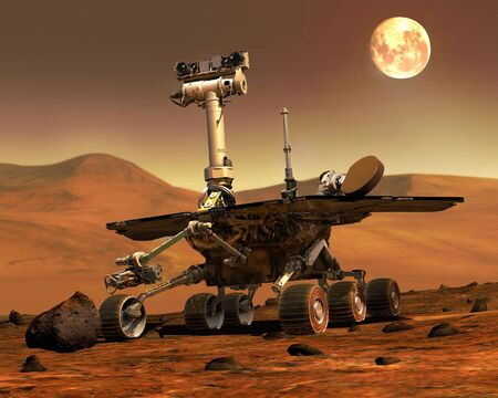 Mars Rovers Landed.Elements of this image furnished by NASA.
