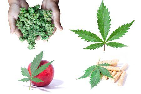 cannabis and sweets,marijuana leaf, apple, cookies, and buds.