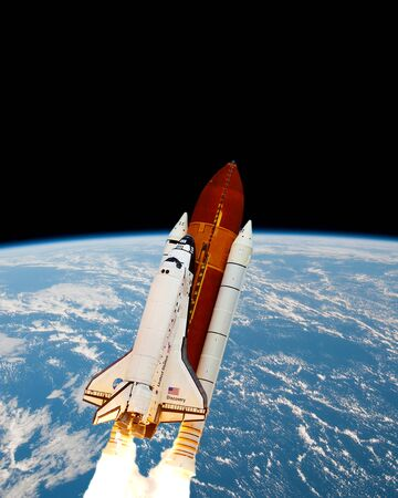 space shuttle enters space into orbit of the earth.