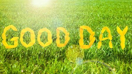 .concept: Good Day yellow lettering on green grass background. Stock Photo