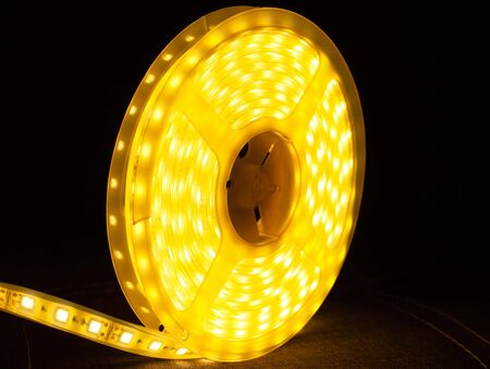 LED strip roll,led tape yellow warm color ,decorative light close up