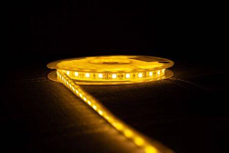 LED Strip Light,decorative diode lighting on dark background.