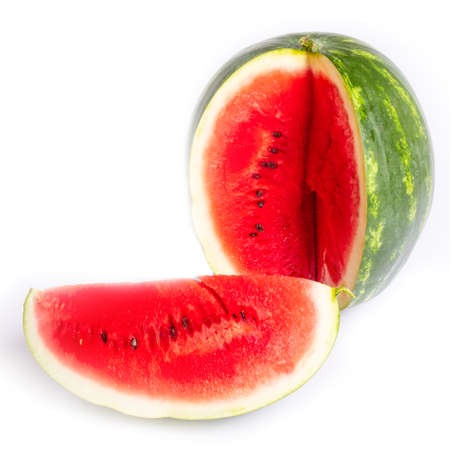 ripe juicy sweet red watermelon with slice isolated on white background. 免版税图像
