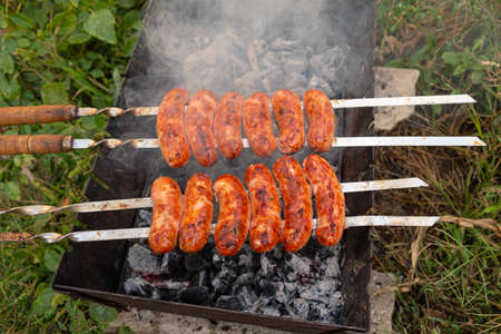 pork sausages on a skewer with a fried crust in smoke close-up on the grill, summer picnic. 免版税图像