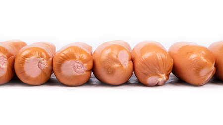 panorama of smoked sausages isolated on white background. 免版税图像