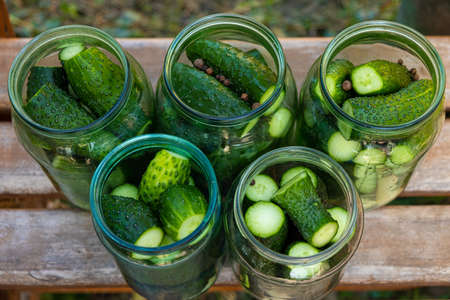 the process of canning pickled gherkins, pickles cucumbers in glass jars.