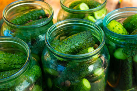 jars of cucumbers close-up, canning gherkins for the winter.