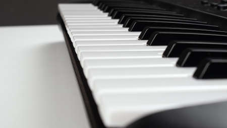 synthesizer keys, musical instrument piano closeup
