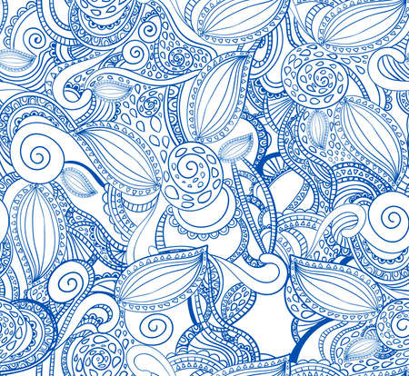 doodled: Seamless doodle pattern, blue ornament on white background.