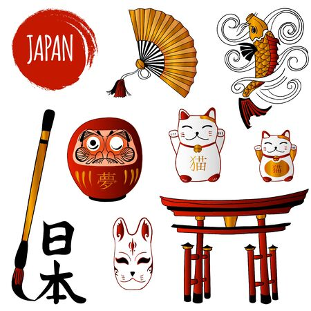 Fortune Cat and different japanese objects