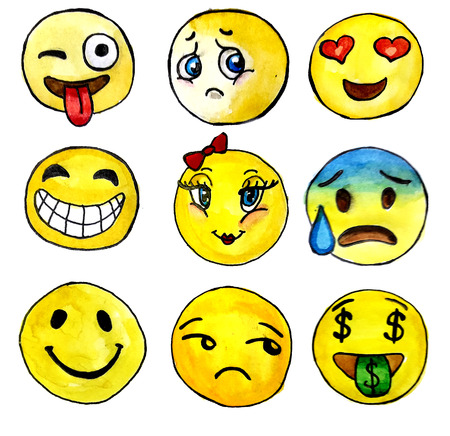 protruding eyes: Watercolor smileys set isolated on white