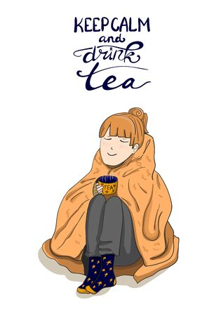 Keep calm and drink tea handwritten lettering and hand drawn cute girl