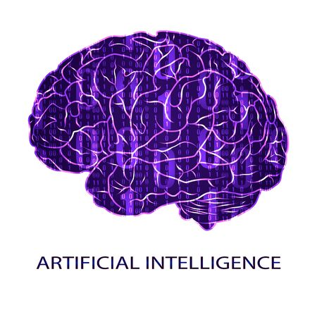 colored backgound: Artificial intellegence VECTOR symbol