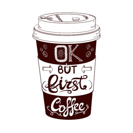 Hand drawn stylized VECTOR coffee cup Ilustração