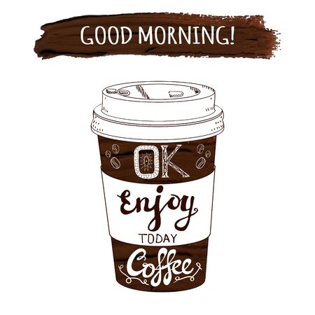 Hand drawn stylized VECTOR coffee cup and paint stroke with handwritten letters