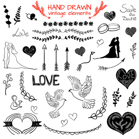 devider: Set of VECTOR hand drawn vintage elements, black drawings Illustration