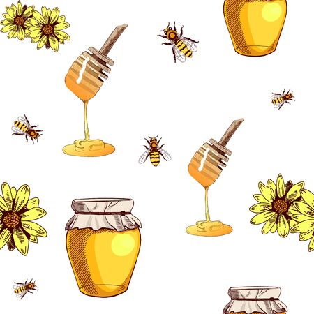 Seamless VECTOR pattern with hand drawn honey on white