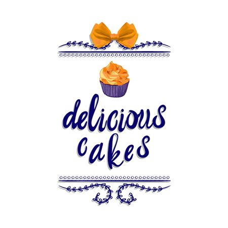 Handwritten VECTOR vignette: delicious cakes with hand drawn cake, blue.