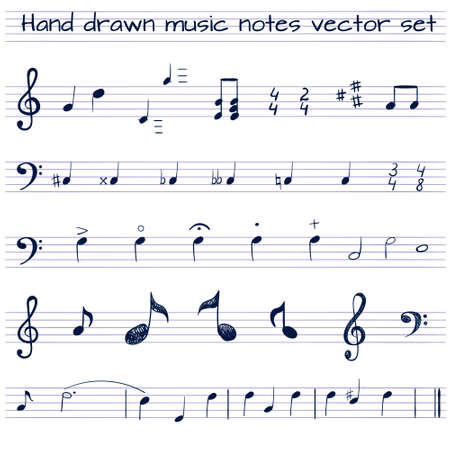 Hand drawn VECTOR set of music notes