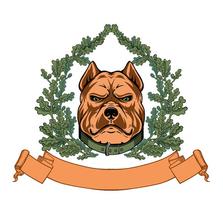 black and white pit bull: Pitbull head and oak wreath - VECTOR logo Illustration
